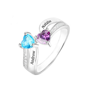 Sterling Silver Heart Birthstone Promise Ring