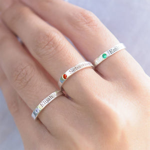 Single Birthstone Name Ring