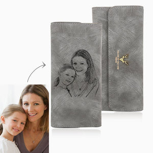 Long Style Engraved Photo Trifold Wallet - Grey