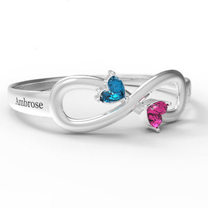 Sterling Silver Infinity Heart Birthstone Ring