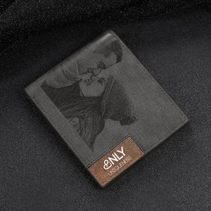 Engraved Photo Bifold Wallet - Grey