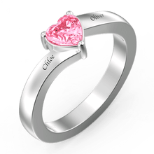Heart Shape Birthstone Double Name Ring