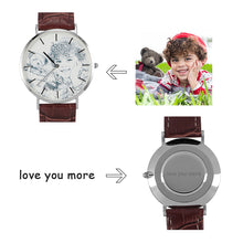 Brown Leather Band Engraved Photo Watch