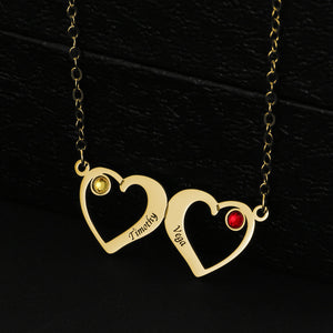 Double Heart With Birthstone Necklace