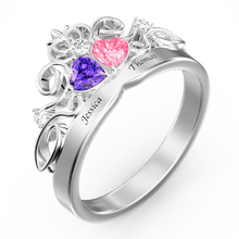 Heart Shape Birthstone Crown Ring