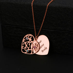 Heart Shape Family Tree With Birthstone Necklace