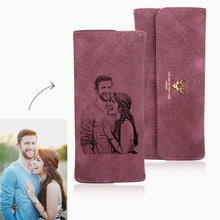 Long Style Engraved Photo Trifold Wallet - Red