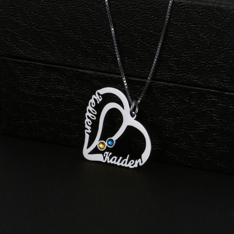 Two In One Heart With Birthstone Necklace
