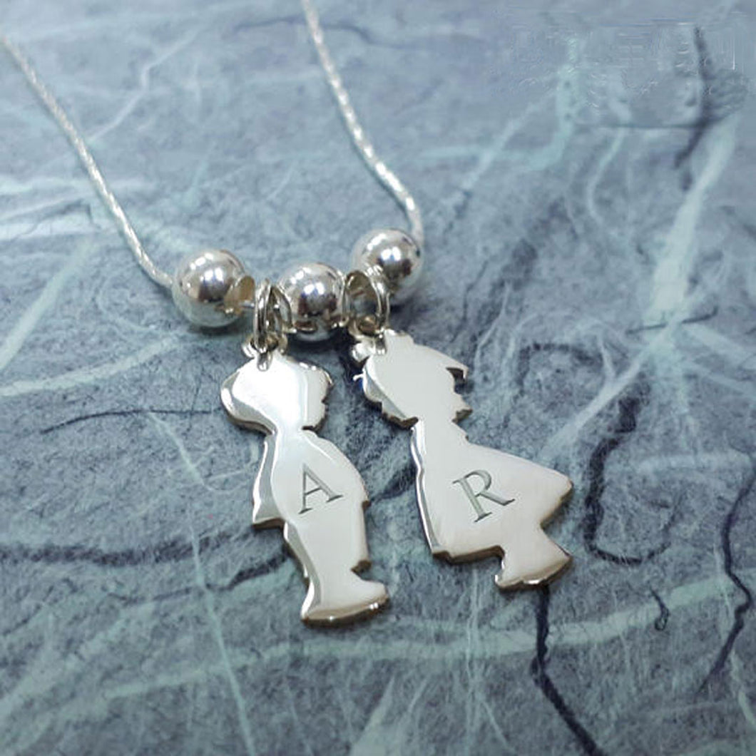 Sterling Silver Children Silhouette 2 Charms