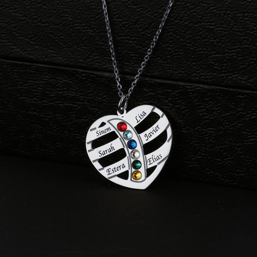 Family Heart With Birthstone Necklace