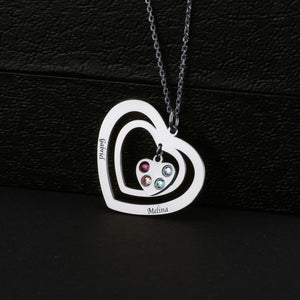 Three Hearts With Birthstone Family Necklace