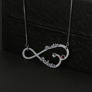 Fish Shape Infinity With Birthstone Necklace
