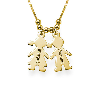 Engraved Name 2 Children Charms Necklace