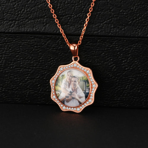 Full Color Sunshine With Crystal Photo Necklace