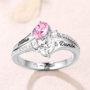 Sterling Silver Oval Birthstone Promise Ring