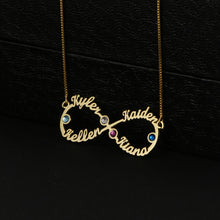 Four Names With Birthstone Infinity Necklace