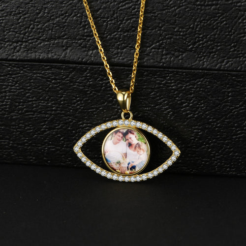Full Color Eye Shape With Crystal Photo Necklace