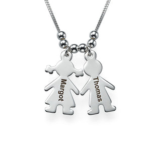 Sterling Silver Engraved Name 2 Children Charms Necklace