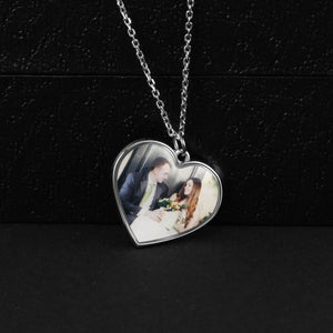 Full Color Heart Shape Photo Necklace