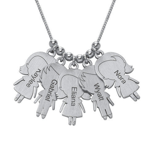 Sterling Silver Necklace with lovely Children 5 Charms
