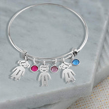 Bangle Bracelet with 4 Kids Charms