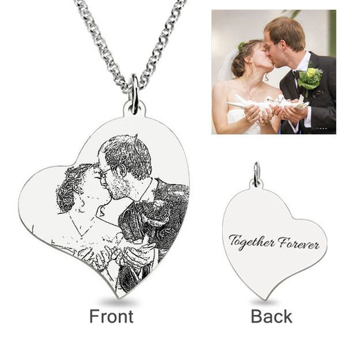 Loving Heart Laser Engraved Personalized Photo Necklace