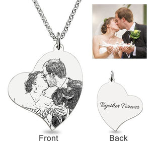 Loving Heart Laser Engraved Personalized Photo Necklace Sterling Silver