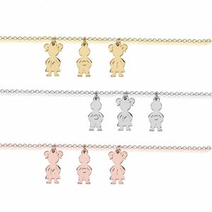Sterling Silver 3 Kids Name Charms Necklace