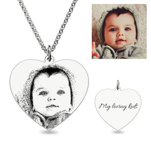 Heart Laser Engraved Personalized Photo Necklace