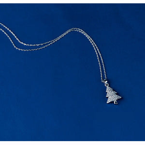 Christmas Silver Tree Necklace