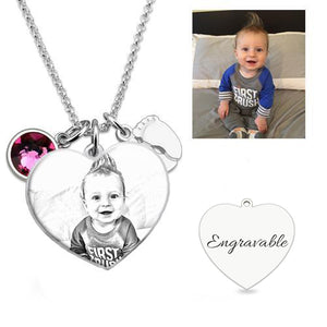 Birthstone Photo Heart Necklace with Baby Feet