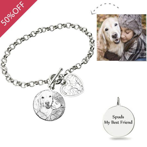 Photo Engraved Bracelet Sterling