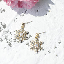 Christmas Silver Snow Flake Drop Earrings