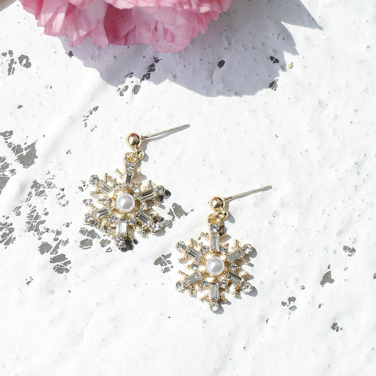 Silver Snow Flake Drop Earrings