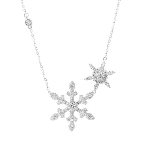 Silver Double Snowflake Design Necklace