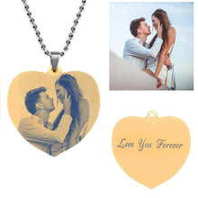 Photo Necklace Heart-Shaped Titanium Steel with Gold Plating