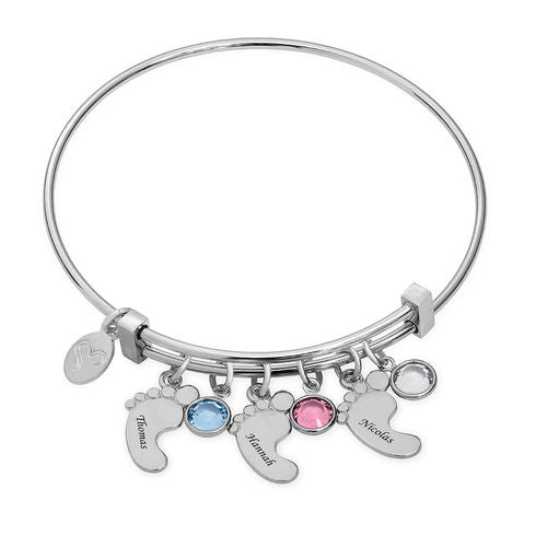 Sterling Silver Baby Feet Bangle Bracelet With Birthstone 2 Charms