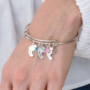 Sterling Silver Baby Feet Bangle Bracelet With Birthstone 3 Charms