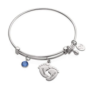 Sterling Silver Baby Feet Bangle Bracelet With Birthstone 1 Charm