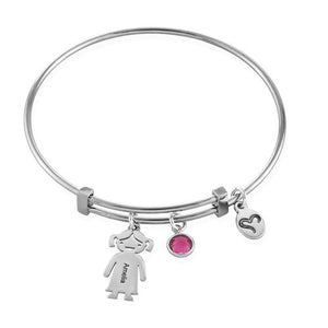 Sterling Silver Children Charms Bracelet with Birthstone 2 Charms