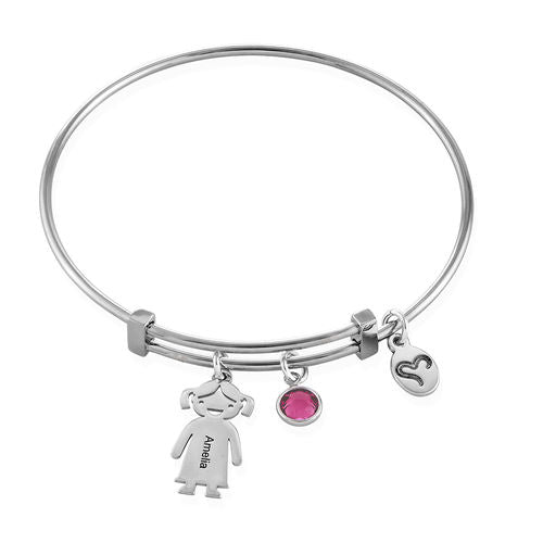 Sterling Silver Children Charms Bracelet with Birthstone 1 Charm