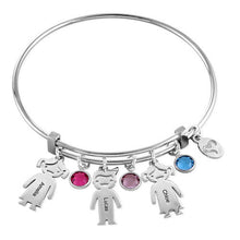 Sterling Silver Children Charms Bracelet with Birthstone 3 Charms