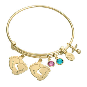 Baby Feet Bangle Bracelet With 2 Birthstones