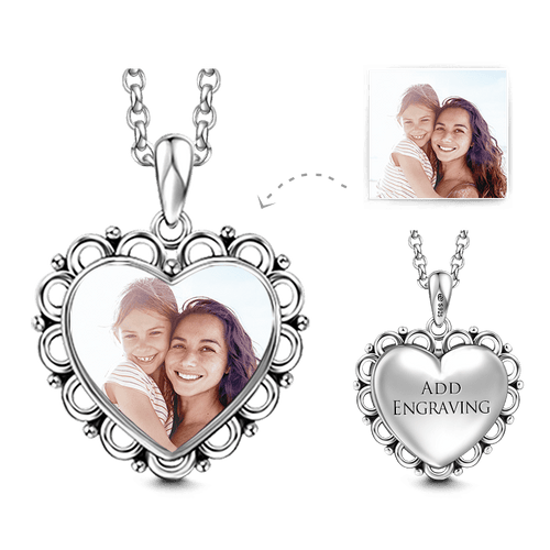 Heart Personalized Engravable Photo Necklace