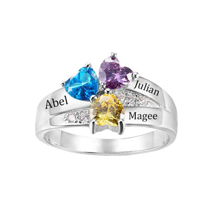 Sterling Silver 3 Heart Birthstones Promise Ring