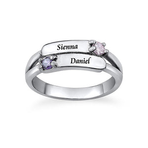 Sterling Silver Double Birthstone Ring