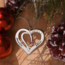 Engraved Couples Birthstone Necklace