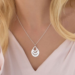 Engraved Family Necklace Drop Shaped Necklace