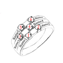 Sterling Silver 6 Square Birthstones Mothers Ring