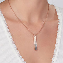 Fingerprint Engraved Vertical Bar Necklace